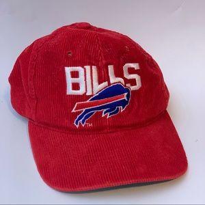 Vintage Buffalo Bills Hat Red Corduroy Snap Back